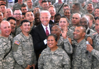 Biden and Soldiers Camp Bondstee
